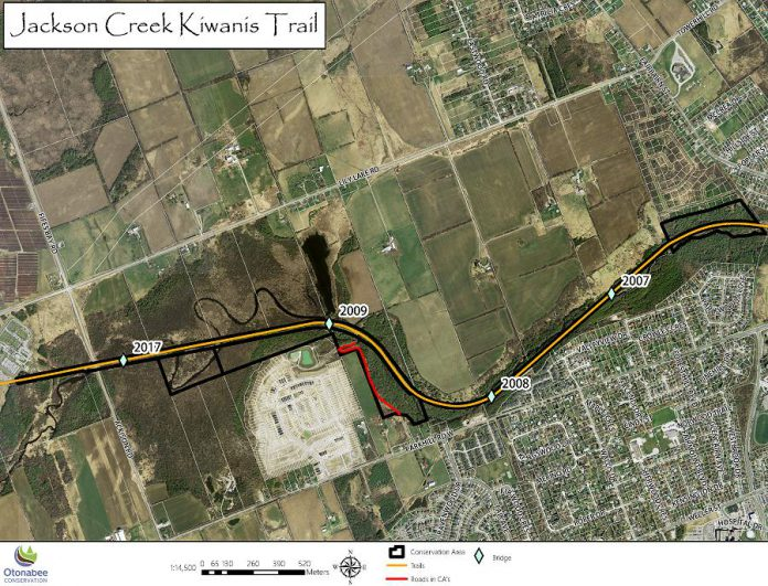 Bridge #2017, located near Ackison Road along the Jackson Creek Trail, is being replaced this fall. While the bridge is being replaced, beginning on October 29, 2018, the trail will be closed for one kilometre between Bridge #2017 and Bridge #2009. (Map: Otonabee Conservation)