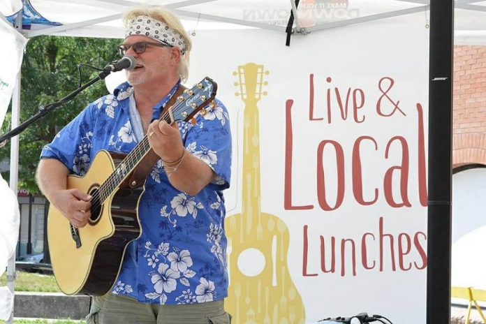 """Jan Schoute performing during """"Live & Local Lunches"""" in downtown Peterborough in 2017. (Photo: Peterborough DBIA)"""