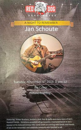 """""""A Night To Remember"""" takes place on Tuesday, November 6, 2018 at the Historic Red Dog in downtown Peterborough. The event will feature live music and reminisces of the late Peterborough musician Jan Schoute, who passed away suddenly on November 5, 2017."""