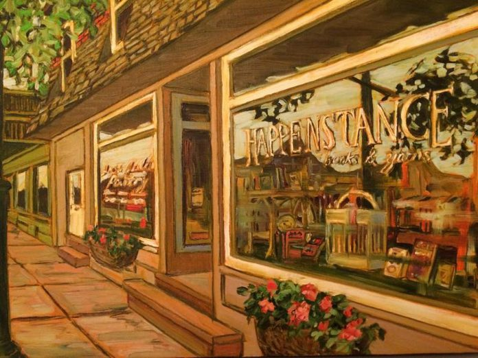 Hppenstance Books & Yarns in Lakefield, pictured below in a painting by local artist Marilyn Goslin, is one of 27 finalists in the Kawartha Chamber of Commerce & Tourism's 2018 Awards of Excellence, which will be presented on Thursday, November 8th at Lakefield College School.