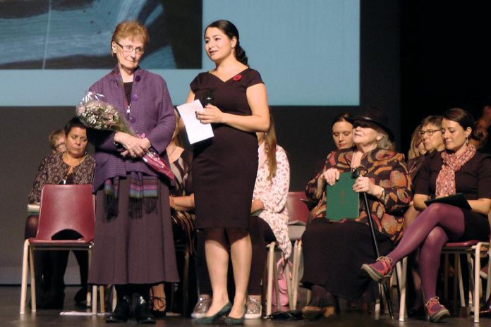 Sister Ruth Hennessey accepts the Lifetime Achievement Award from  MP Maryam Monsef. (Photo: Bruce Head / kawarthaNOW.com)