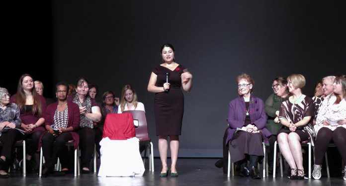 MP Maryam Monsef addresses the crowd at Showplace Performance Centre while some of the award recipients look on. (Photo: Bruce Head / kawarthaNOW.com)