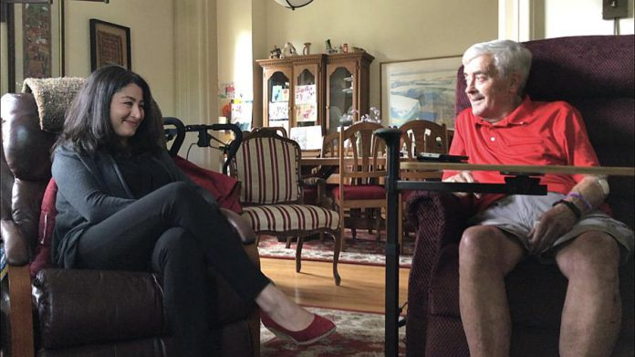 Peterborough-Kawartha MP Maryam Monsef visiting with former Liberal MP and MPP Peter Adams, who passed away on September 28, 2018 at age 82 following a lengthy battle with cancer. (Photo: Office of Maryam Monsef)