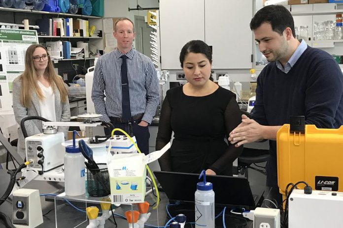 Peterborough-Kawartha MP Maryam Monsef visiting a lab at Trent University on October 9, 2018 following the announcement on October 9, 2018 of $2.4 million in federal funding for science research at the university. (Photo: Office of Maryam Monsef)