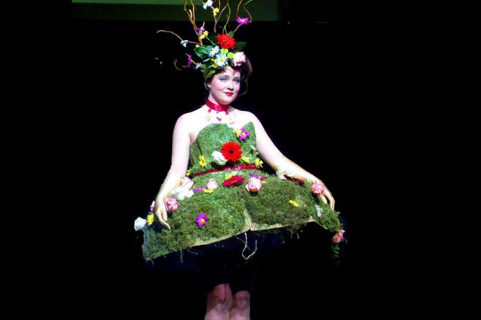 At the 2011 Wearable Art Show, artist (and kawarthaNOW art columnist) Shannon Taylor created this piece modelled by Public Energy  Administrator and Marketing Director (and kawarthaNOW food columnist) Eva Fisher. (Photo: Public Energy)
