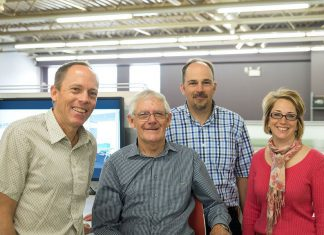 Brant Basics founder Morris Cox (second from left, pictured in 2013 with his children and current Brant owners Jeff Cox, David Cox, and Susan Sharp) was named the Business Citizen of the Year at the Peterborough Business Excellence Awards ceremony at Showplace Performance Centre in downtown Peterborough on October 17, 2018. (Photo: Pat Trudeau)