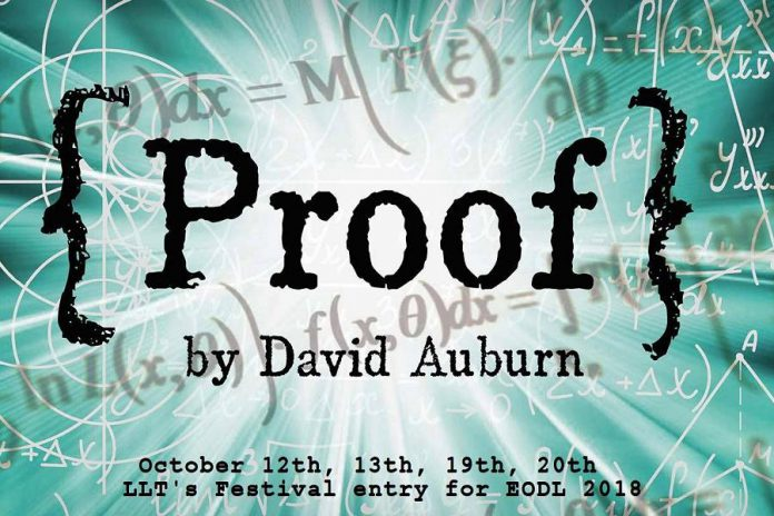"David Auburn's ""Proof"" debuted on Broadway in 2000. It won three Tony Awards, won the  Pulitzer Prize for Drama, and was made into a 2005 film starring Anthony Hopkins, Gwyneth Paltrow, and Jake Gyllenhaal. The Lindsay Little Theatre production runs October 12, 13, 19 and 20 and is also the theatre company's  entry into the Eastern Ontario Drama League festival."
