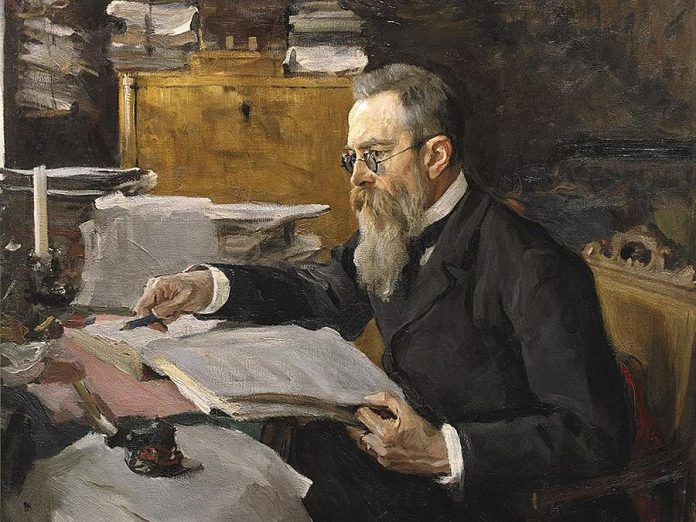 "A portrait of Nikolai Rimsky-Korsakov by Valentin Serov from 1898, 10 years after the composer wrote ""Scheherazade"". (Public domain)"