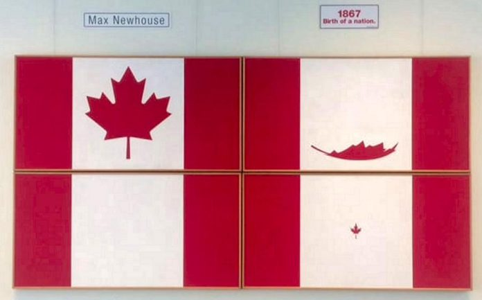 "Artist Maxwell Newhouse's 1975 work ""Four Seasons of the Canadian Flag"", which inspired composer John Burge's 2017 composition of the same name. On November 3, 2018, the PSO will perform  the ""Summer"" and ""Fall"" movements of Burge's composition. (Photo: Maxwell Newhouse)"