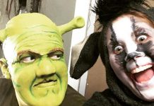 "An early make-up test of Rowan Lamoureux as Shrek and Lindsay Barr as Donkey in the St. James Players' production of ""Shrek: The Musical"", which runs from November 9 to 17 at Showplace Performance Centre in Peterborough. (Photo: St. James Players)"