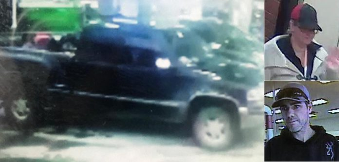 Kawartha Lakes OPP are seeking the public's assistance in identifying the GMC Sierra pick-up truck and two suspects, the female driver and male passenger, shown in these photos. (Supplied photos)