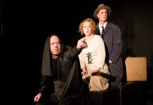 """Dan Smith as Igor, Sarah McNeilly as Inga, and Luke Foster as Fredrick Frankenstein in Ryan Kerr's recreatinn of the 1974 Mel Brooks' cult classic """"Young Frankenstein"""", running from October 25 to 27, 2018 at The Theatre on King in downtown Peterborough. (Photo: Andy Carroll)"""