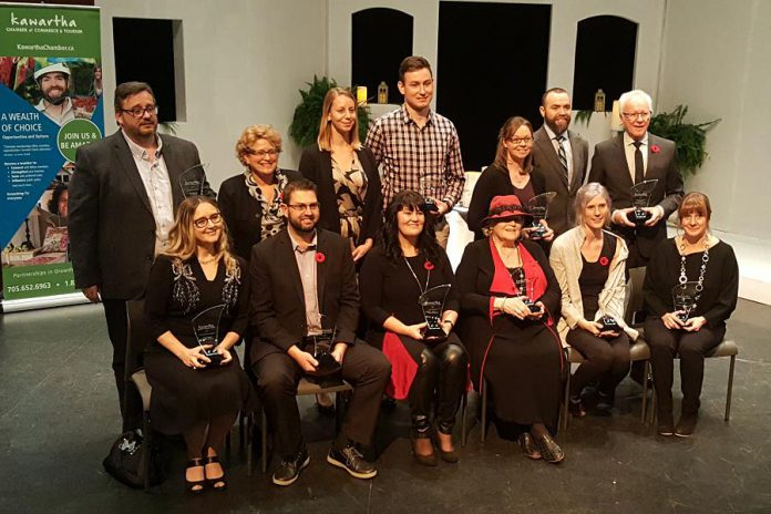 The recipients of the 2018 Kawartha Chamber of Commerce & Tourism's Awards of Excellence on stage at Bryan Jones Theatre at Lakefield College School on November 8, 2018. Cindy Windover (front row, third from left) was named Citizen of the Year. (Photo: Jeannine Taylor / kawarthaNOW.com)