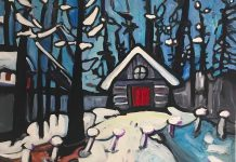 """A detail from """"Quebec Cabin, From the River, in Spring"""" by Jennifer Churchill, whose series of bold and bright contemporary landscapes depicting the Canadian North is currently on display at the Agnes Jamieson Gallery in Minden. (Photo courtesy of the artist)"""