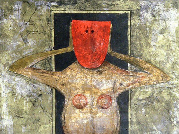 """Woman with the Red Mask"" by Tamayo Rufino, from the Art Gallery of Northumberland's permanent collection.  (Photo courtesy of Art Gallery of Northumberland)"
