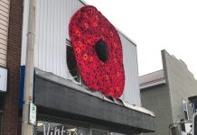 A huge hand-crafted poppy, created from thousands of smaller hand-crafted poppies, is on display on the front of the Hospice North Hastings store, Vintage on Hastings (67 Hastings St. N., Bancroft) until Remembrance Day. (Photo: Barb Shaw)