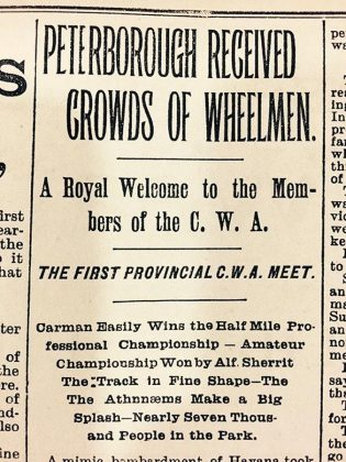 "In the late 19th century, cyclists used to be known as ""wheelmen"". Peterborough was the first city to host a provincial meet under the Canadian Wheelmen's Association banner.  (Photo courtesy of Peterborough Museum and Archives via The Bicycle Museum)"