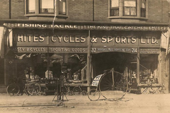 Whites Cycles & Sports Ltd., one of Peterborough's earliest bicycle shops. (Photo courtesy of Peggy Brownscombe via The Bicycle Museum)