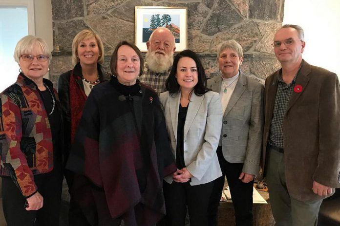 Haliburton–Kawartha Lakes–Brock MPP Laurie Scott (second from left) with representatives of Abbey Retreat Centre in Haliburton County, which offers integrative programs for people living with cancer and their primary support person. The centre is receiving $55,300 from the Ontario Govermment's Rural Economic Development program. (Supplied photo)