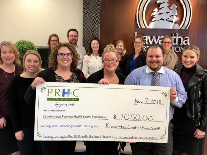 Kawartha Credit Union staff have raised $1,050 for  the Peterborough Regional Health Centre (PRHC) Foundation. (Photo courtesy of PRHC Foundation)