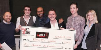The Innovation Cluster and Trent Business Students Association have teamed up to celebrate Global Entrepreneurship Week this week with a series of events, including the Pitch It! entrepreneurial competition for Trent University and Fleming College students on November 15, 2018. Pictured are the winners of the 2017 Pitch It! entrepreneurial competition, where five teams each took home $500. (Photo courtesy of the Innovation Cluster)