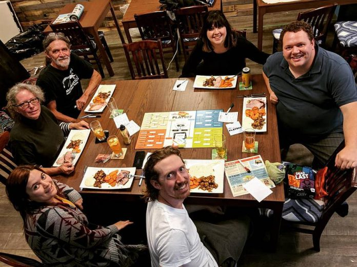 Brothers Dylan and Connor Reinhart (right and bottom right) have been busy renovating the former Sweet Spirits location at 261 George Street in downtown Peterborough to become the Boardwalk Cafe. The cafe will offer more than 300 board games as well as food prepared by Connor, who is a certified chef. (Photo: Boardwalk Board Game Lounge/ Instagram)