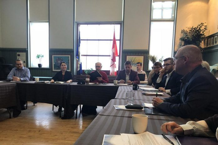 Peterborough-Kawartha MP Maryam Monsef (second from left) and Peterborough Chamber president and CEO Stuart Harrison (right) at the USMCA roundtable on November 16, 2018. (Photo: Innovation Cluster / Twitter)