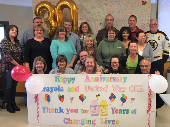 Staff at Crayola Canada in Lindsay express thanks to the United Way for the City of Kawartha Lakes.  (Photo courtesy of United Way CKL)