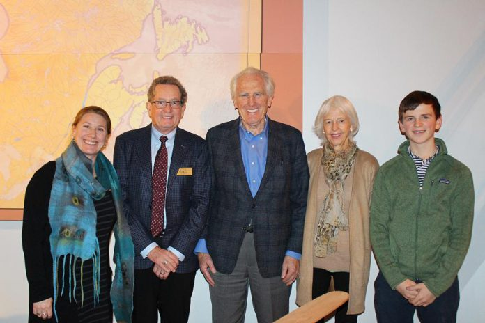 Peter and Camily Daglish (third and fourth from left), directors of the  Dalglish Family Foundation, with their gandson Luke Abell (far right), along with Canadian Canoe Museum executive director  Carolyn Hyslop and capital campaign chair Bill Morris. The Dalglish Family Foundation has committed $1.2 million to the museum's capital campaign to build the new museum facility alongside the Peterborough Lift Lock on the Trent-Severn Waterway. (Photo courtesy of The Canadian Canoe Museum)
