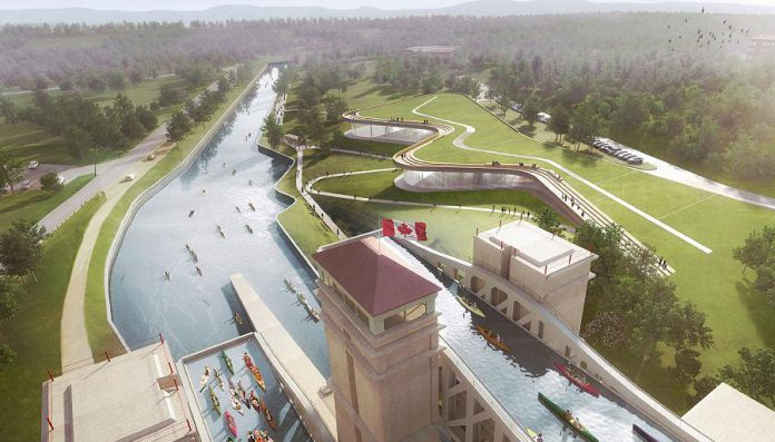 The new Canadian Canoe Museum facility will be located on the west bank of the Trent Canal south of the Peterborough Lift Lock. The museum's collection will lie beneath the north section of the roof, which will blend almost seamlessly into ithe landscape. The roof itself will offer sweeping views of the caanal. (Rendering: heneghan peng / Kearns Mancini Architects)