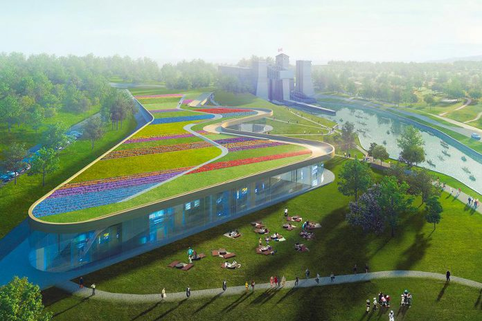 The 1.5-acre green roof of the new Canadian Canoe Museum facility, to be located at the Peterborough Lift Lock National Historic Site, will be named in honour of the Dalglish Family Foundation, which had donated $1.2 million to the museum's capital campaign to build the new facility. The roof, which is the largest external surface of the facility, will feature an accessible boardwalk, a wildflower meadow, and local grasses, and will result in energy conservation and environmental benefits. (Rendering: heneghan peng / Kearns Mancini Architects)