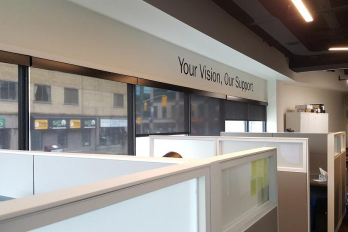 "The ""Your Vision, Our Support"" slogan of Community Futures Peterborough, pictured at the new Venture North offices, reflects the economic development organization's mandate to help small businesses. (Photo: Jeannine Taylor / kawarthaNOW.com)"