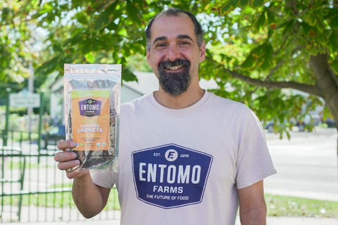 Darren Goldin, co-founder and V.P. of Operations at Entomo Farms. The Norwood-based company that produces food protein products made from crickets recently received expansion funding through Community Futures Peterborough and Community Futures Ontario East, which are both now located at the Venture North building in downtown Peterborough. (Supplied photo)