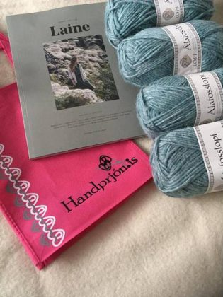 At the event, there will be prizes for the top sponsor, most projects made for donation, and door prizes. One of the prizes is this knitting package from a yarn shop in Iceland! (Photo: KSAC / Facebook)