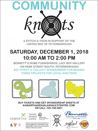 The Community Knots Stitch-a-Thon takes place from 10 a.m. to 2 p.m. on Saturday, December 1st at Bennett's Home Furnishings in Peterborough.