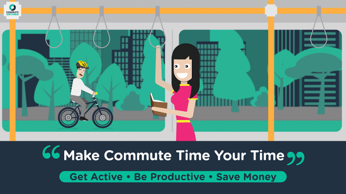 Commute Ontario is encouraging the use and benefits of public transit, car pooling, and person-powered alternatives to driving.  (Graphic courtesy of Commute Ontario)