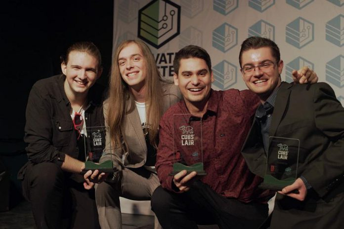 The finalists of the  2018 Cubs' Lair entrepreneurial competition:  Noah Latendre and Dillon Ahola of Opened Minds, Jeremy Brooks of AVROD, and Dylan Trepanier of Alexander Optical. (Photo courtesy of Innovation Cluster)