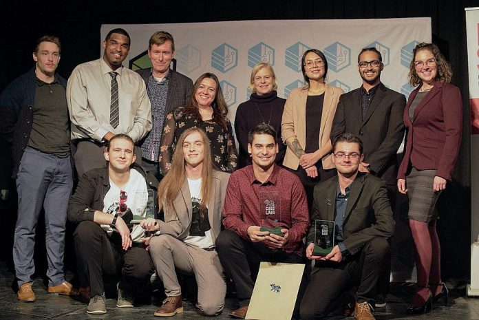 The finalists and the judges for the 2018 Cubs' Lair entrepreneurial competition, held at the Gordon Best Theatre in downtown Peterborough on November 22, 2018 and hosted by FastStart Peterborough, the Innovation Cluster and the Trent Youth Entrepreneurship Society.  (Photo courtesy of Innovation Cluster)