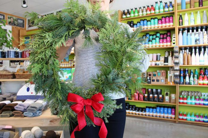 Three Sisters has been busy creating a variety of winter wreathes and arrangements made from local greenery and beautiful reusable ribbons. You can get them at the GreenUP Store in downtown Peterborough. (Photo: Karen Halley)