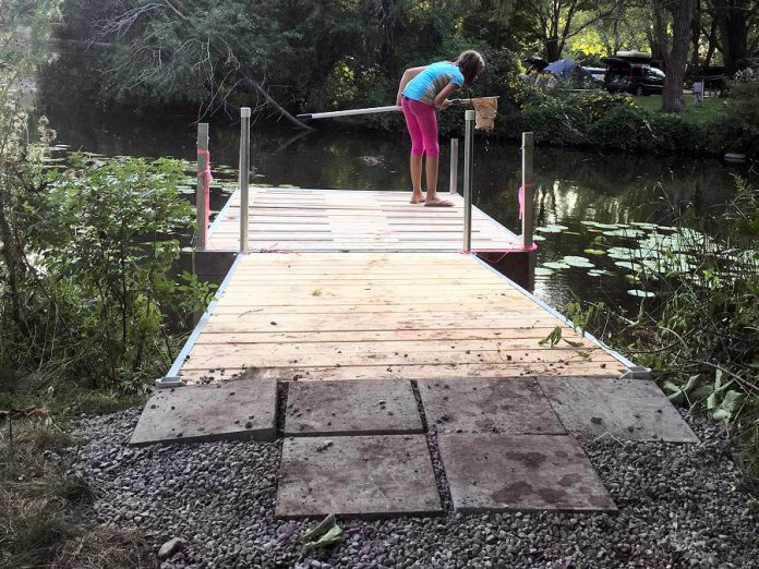 The dock at the GreenUP Ecology Park waterfront was made accessible earlier this spring, thanks to funding from the Community Foundation of Greater Peterborough. More accessible features are being planned for Ecology Park, to enable visitors of varying abilities to experience the park more inclusively. (Photo: GreenUP)