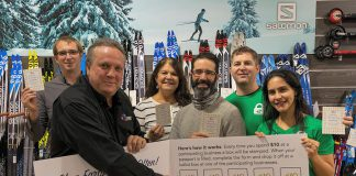 Joel Wiebe and Terry Gueil of the Peterborough Downtown Business Improvement Area (DBIA) with Theresa Foley of Showplace Performance Centre, Jonathan Moreno of Wild Rock Outfitters, and James and Lena Wallwork of Lift Lock Escape, at the launch of the 2018 Holiday Shopping Passport Program at Wild Rock Outfitters on November 12, 2018. Showplace and Lift Lock Escape are two of the new organizations and businesses participating in this year's program. (Supplied photo)