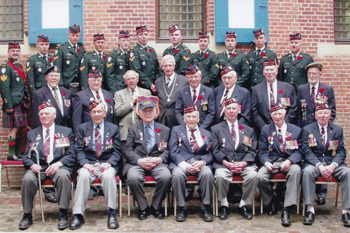 Joseph Sullivan (second row, second from right) with the Stormont, Dundas, and Glengarry Highlanders in Leesten, The Netherlands, for the 60th anniversary of Holland's liberation in May 2005. (Photo courtesy of Joseph Sullivan)