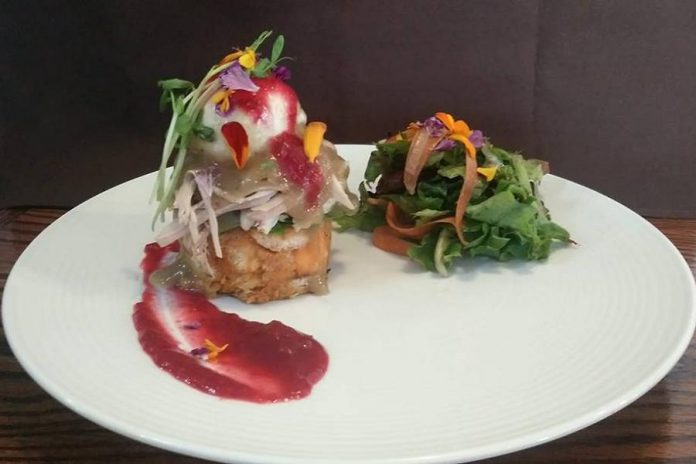 The Monaghan Cafe has developed a reputation for innovative and exquisitely plated brunches. Pictured is a Turkey Benedict, created as a Thanksgiving special. The restaurant is launching a new dinner menu this month. (Photo: The Monaghan Cafe)