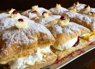 """This month we look at snack food favourites reinvented by local businesses. The Pastry Peddler in Millbrook has come up with its own version of the Passion Flakie, with different flavours every """"Flaky Friday"""". Pictured is lemon curd, raspberry preserve, and fresh cream. (Photo: Brad Katz / Pastry Peddler)"""