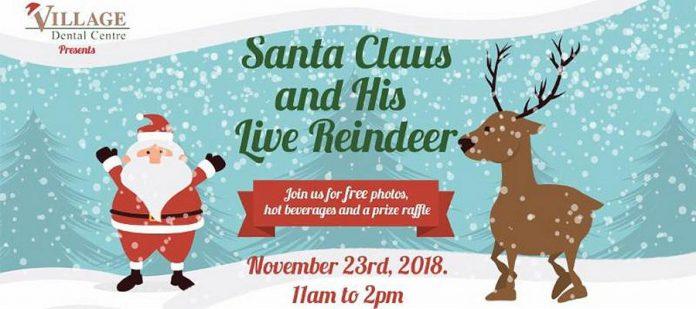 Santa Claus & Live Reindeer At Village Dental Centre