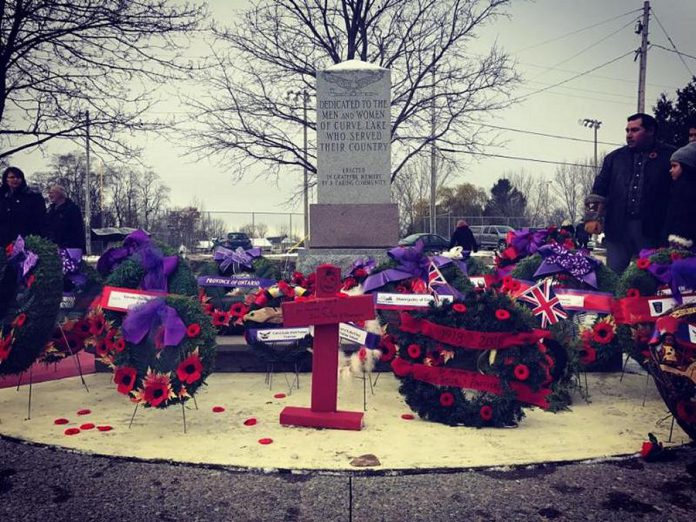 Curve Lake Remembrance Day Ceremony. (Photo courtesy of McLean Berry Farm)