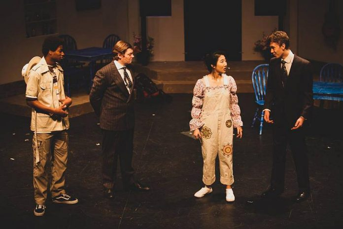 Zachary Chiagozic as Bill Austin, Liam Davidson as Sam Carmichael, Catherine Kim as Donna Sheridan, and Liam Cole as Harry Bright.  (Photo: Sara Connelly / SC Photography)