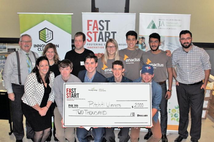 The winning teams and judges of the fourth annual Pitch It! student entrepreneurial competition held at Fleming College on November 15, 2018. Four student teams from Trent University, Fleming College, and a local high school each took home $500 for their winning business idea. (Photo courtesy of Innovation Cluster)