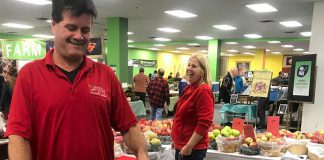 The Peterborough Regional Farmers' Market opened on Saturday, November 3rd at its new winter location in Peterborough Square in downtown Peterborough. The indoor market runs from 8 a.m. to 1 p.m. every Saturday from November to April and includes the same features as the summer outdoor market, including products from local primary producers (pictured is Brian Allin of Allin's Orchards), prepared food, artisan products, live music, and a children's area. (Photo: Barb Shaw / kawarthaNOW.com)