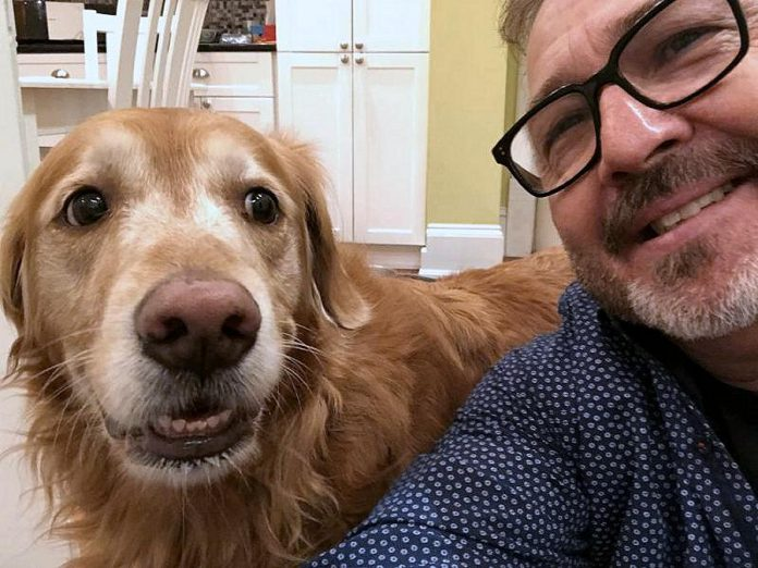 Mike Melnik, former radio host and owner of Impact Communications in Peterborough, with his dog Rosie. One winter, Mike was out walking Rosie when he had a serious fall, requiring a trip to the emergency room at Peterborough Regional Health Centre (PRHC) and five days of treatment and recovery at the hospital. Private donations from people like you allow PRHC to purchase the technology and equipment to advance patient care, both in the emergency room and throughout the hospital. (Supplied photo)
